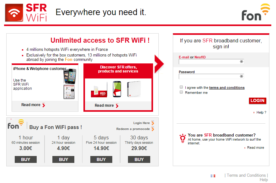 application sfr wifi fon